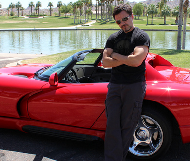 tony stark with dodge viper